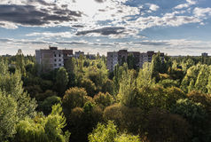Zone of Alienation. View from the roof of abandoned hospital in Pripyat city, Chernobyl Exclusion Zone, Ukraine Stock Photos