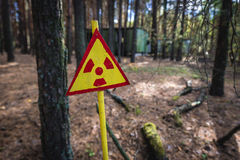 Zone of Alienation. Warning sign in contaminated area of Pripyat city in Chernobyl Exclusion Zone, Ukraine Stock Photography