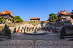 Zone of Chinese zodiac. Zone or area where 12 sculptures represent the Chinese zodiac located in Yuanxuan Taoist temple, Guangzhou, China stock photo