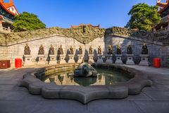 Zone of Chinese zodiac. Zone or area where 12 sculptures represent the Chinese zodiac located in Yuanxuan Taoist temple, Guangzhou, China royalty free stock photo