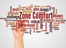 Zone Comfort word cloud and hand with marker concept. On white background stock illustration