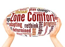 Zone Comfort word cloud hand sphere concept. On white background royalty free illustration
