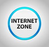 Zone d'Internet autour de bouton poussoir bleu illustration stock