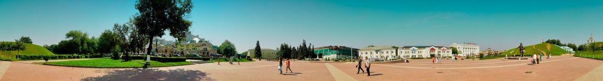 Zone de commerce de panorama de ville Dmitrov Photo libre de droits
