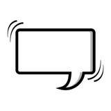 zone de dialogue monochrome de forme de rectangle de silhouette Images stock