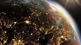 Zone de l'Europe de la terre de planète utilisant la NASA d'imagerie satellitaire Images stock