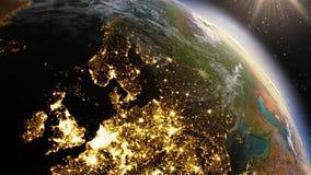 Zone de l'Europe de la terre de planète utilisant la NASA d'imagerie satellitaire Images libres de droits