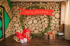 Zone de photo du ` s de nouvelle année, emplacement de Noël photographie stock libre de droits