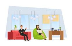 Zone de repos dans le bureau Les employés du collègue détendent dans la chambre illustration de vecteur