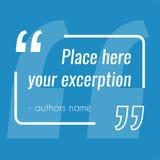 Zone de texte bleue vide de citation de vecteur Élément de conception pour l'excerption illustration stock