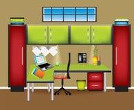 Zone de travail colorée de bureau Photo libre de droits