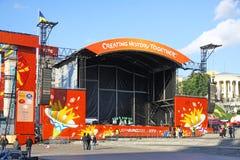 Zone de ventilateur de l'EURO 2012 dans Kyiv Photographie stock