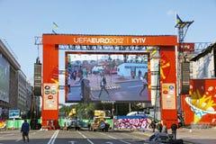 Zone de ventilateur de l'EURO 2012 dans Kyiv Images stock
