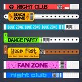 Zone entrance bracelets isolates. Concert or hotel vector plastic wristbands. Bracelet for hand, armlet for entrance and admit illustration Stock Image