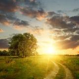 Zone et chemin de terre au coucher du soleil Image stock
