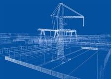 Zone industrielle avec des bâtiments et des grues illustration libre de droits