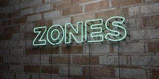 ZONE - Insegna al neon d'ardore sulla parete del lavoro in pietra - 3D ha reso l'illustrazione di riserva libera della sovranità illustrazione di stock
