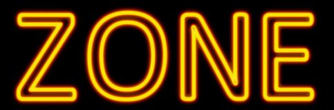 Zone neon sign. Abstract 3d rendered words zone yellow neon sign on black background stock illustration