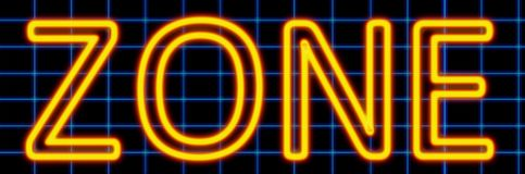 Zone neon sign. Abstract 3d rendered words zone yellow neon sign on blue wire background vector illustration