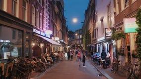 Zone piétonnière au centre de la ville d'Amsterdam la nuit - AMSTERDAM - LES PAYS-BAS - 19 juillet 2017 clips vidéos