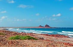 Zone protégée de marine de Dihamri, la plage, coraux, coquilles, montagnes rouges, plongeant en île d'île de Socotra, le Yémen Photos stock