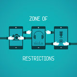 Zone of restrictions for gadget vector concept in flat style Stock Photography