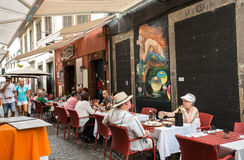 Zone Velha - the oldest district famous for its best restaurants and cafes in Funchal. Madeira, Royalty Free Stock Photo