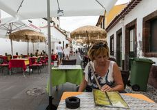 Zone Velha - the oldest district famous for its best restaurants and cafes in Funchal. Madeira Royalty Free Stock Image