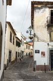 Zone Velha - the oldest district famous for its best restaurants and cafes in Funchal. Madeira Royalty Free Stock Photo