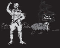 Zone of War. Soldier with a  machine  gun and tipped over burning car, precaution War Zone, hand drawn on black. Concept of modern conflicts Royalty Free Stock Photos