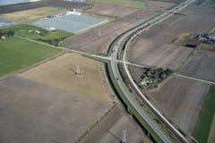 Zones, fermes, chemin de fer image stock