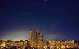Zones résidentielles la nuit, Kiev Images stock