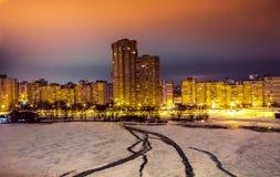 Zones résidentielles la nuit, Kiev Photos libres de droits