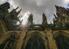 Zongloed over het Kasteel van Praag Royalty-vrije Stock Foto