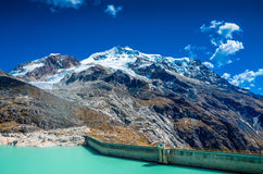 The Zongo Pass with Huayna Potosi peak in the backgroud Royalty Free Stock Photo