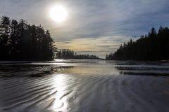Zongootstenen aan horizon over gegolft zand bij Schoenerinham royalty-vrije stock foto's