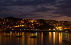 Zonguldak City and Port at Night Stock Image