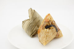 Zongzi or chinese sticky dumpling. Isolated on white background royalty free stock photos