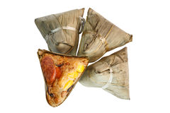 Zongzi or Chinese sticky rice dumpling on white background. Zongzi or Asian Chinese rice dumplings. Isolated on white for Dragon Boat Festival , Close up of Royalty Free Stock Photography