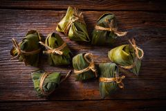 Zongzi Glutinous sticky Rice Dumplings recipe. Wrap with bamboo leaves asian food Royalty Free Stock Photo