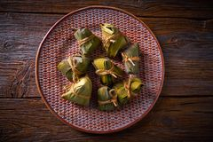 Zongzi Glutinous sticky Rice Dumplings recipe. Wrap with bamboo leaves asian food Stock Photography