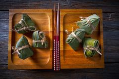 Zongzi Glutinous sticky Rice Dumplings recipe Royalty Free Stock Image