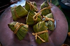 Zongzi Glutinous sticky Rice Dumplings recipe. Wrap with bamboo leaves asian food Stock Photos