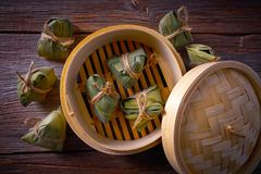 Zongzi Glutinous sticky Rice Dumplings recipe. Wrap with bamboo leaves asian food Royalty Free Stock Image