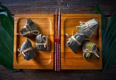 Zongzi Glutinous sticky Rice Dumplings recipe. Wrap with bamboo leaves asian food Stock Images