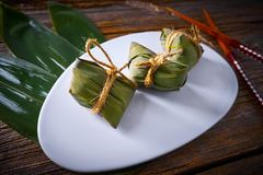 Zongzi Glutinous sticky Rice Dumplings recipe. Wrap with bamboo leaves asian food Royalty Free Stock Photos