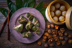 Zongzi Rice Dumplings pork buns shiitake Royalty Free Stock Images