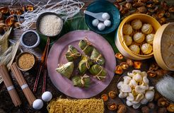 Zongzi Rice Dumplings pork buns shiitake noodles. Sesame asian food mix stock image