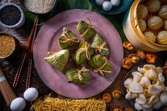Zongzi Rice Dumplings pork buns shiitake noodles. Sesame asian food mix Stock Photography