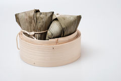 Zongzi in round bamboo crate Royalty Free Stock Image